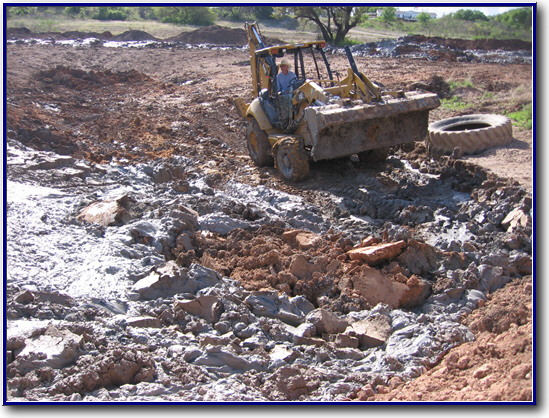 Near Coleman, TX....... Tons of bentonite clay have to be removed to correct a problem lake. If it looks like a mess, IT WAS! A costly one to boot.