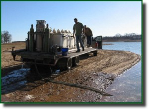 Fish hatchery truck. Acclimating new fish stock before they are released into the trophy fishing lake.