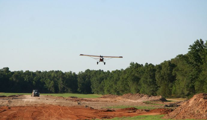 Client does a fly-by of grass runway under construction in Northeast Texas.